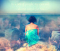 Abstract love background ink saturated with lonely girl and unqnown quote over the sea of people Stock Photo
