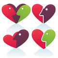 Abstract love collection vector of face and hearts Stock Photos