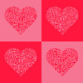 Abstract love hearts set of red and pink filled with romantic icons Royalty Free Stock Photography