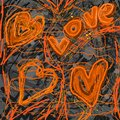 Abstract love painting design digital with hearts Royalty Free Stock Photos