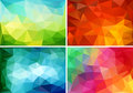 Abstract low poly backgrounds, vector set Royalty Free Stock Photo