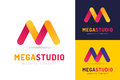 Abstract M letter vector logo icon template