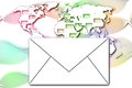 Abstract mail communication on world map background the Royalty Free Stock Photography