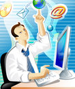 Abstract of man and e-mail Royalty Free Stock Photo