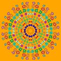 Abstract mandala with flower, curls, bee