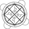 Abstract mandala in a hand-drawn style. Black geometric mandala