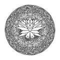 Abstract mandala ornament. Asian pattern with lotus flower. Black and white authentic background. Vector illustration. Royalty Free Stock Photo