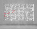 Abstract maze drawn against dark background finding solution Stock Images