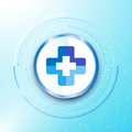 Abstract medical health care hospital sign metallic circle button blue background innovation concept Royalty Free Stock Photo