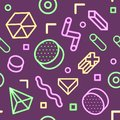 Abstract Memphis Style Neon Seamless Pattern with Geometric Shapes.