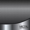 Abstract metal background with perforation steel silver chrome surface and vector illustration Stock Photography
