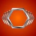 Abstract metal hexagon and arrows shape Royalty Free Stock Photo