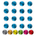 Abstract metal web icon set blue with more color samples Royalty Free Stock Photo