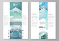 The abstract minimalistic vector illustration of the editable layout of two modern blog graphic pages mockup design