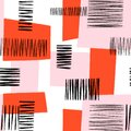 Abstract modern art geometric collage seamless pattern. Contemporary art seamless pink red black geometric block shapes Royalty Free Stock Photo