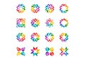 Abstract modern circle logo, rainbow, arrows, elements, floral, Set of round stars and sun symbol icon vector design
