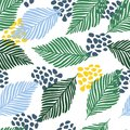 Abstract modern contemporary art style vector illustration. Floral collage seamless pattern.