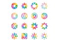 Abstract modern elements logo, circle rainbow flowers, Set of round floral,stars,arrows and sun symbol icon vector designs