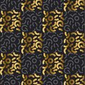 Abstract modern geometry repitable motif for surface design. Cool gold and black seamless pattern Royalty Free Stock Photo