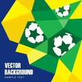 Abstract modern polygon background in brazilian fl flag and football design illustration blue green and yellow geometric pattern Royalty Free Stock Images