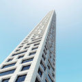 Abstract modern skyscraper architecture d office tower perspective over blue sky render illustration Royalty Free Stock Photography