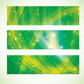 Abstract molecule banner set green yellow colors Stock Photo
