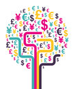 Abstract money tree vector illustration Royalty Free Stock Photo
