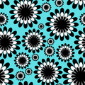 Abstract monochrome floral seamless pattern in over tiffany blue background Royalty Free Stock Photography