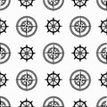 Abstract monochrome seamless pattern with marine objects Royalty Free Stock Photo