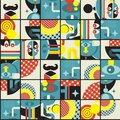 Abstract monsters pattern vector illustration in retro style Royalty Free Stock Image