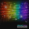 Abstract mosaic rainbow glowing squares with lights and black background vector illustration for your night disco design fantasy Stock Image