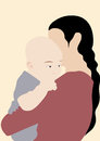 Abstract mother carry her child; happy family vector design illustration.
