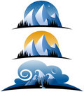 Abstract Mountain Icons Royalty Free Stock Photos