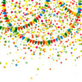 Abstract multicolored explosion of many falling tiny confetti pieces and bright colors holiday garlands from flags