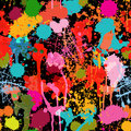 Abstract multicolored paint splashes vector seamless pattern hand drawn composition on black background for funny design Royalty Free Stock Image