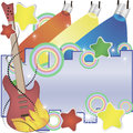 Abstract  music background with a guitar and colorful spotlights Royalty Free Stock Photo