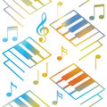 Abstract music backgrounds. Piano keys and musical notes. Seamless pattern.