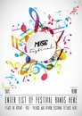 Abstract music festival advertising poster template with tunes.