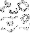 Abstract music notes collection of in various designs Stock Photos