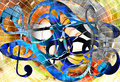 Abstract music theme background with clef, modern design.