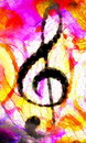 Abstract music theme background with music clef, modern design. Mosaic effect.