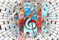 Abstract music theme background with music note and clef, modern design.