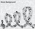 Abstract musical background the music lineup and notes arranged in a spiral Royalty Free Stock Photos