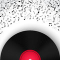 Abstract musical frame and border with black notes on white background. Royalty Free Stock Photo