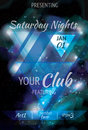Abstract nebula style flyer design funky galaxy space light effect club Stock Photography