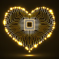 Abstract neon electronic circuit board in shape of heart
