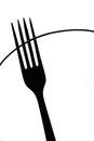 Abstract non figurative silhouette of fork, Black and white kitchen art Royalty Free Stock Photo