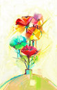 Abstract oil painting of spring flower. Still life of yellow, green and red gerbera and poppy Royalty Free Stock Photo