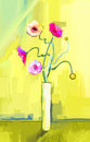 Abstract oil painting of spring flower. Still life of yellow, pink and red gerbera. Royalty Free Stock Photo