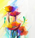 Abstract oil painting of spring flower. Still life of yellow, pink and red poppy.